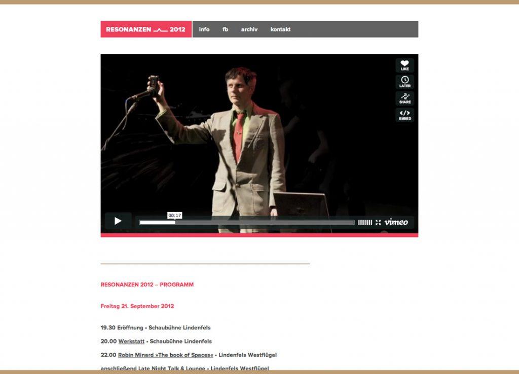 Resonanzen 2012 | Gestaltung, Programmierung – Responsive Layout, Webfont Proxima Nova, WordPress alsCMS