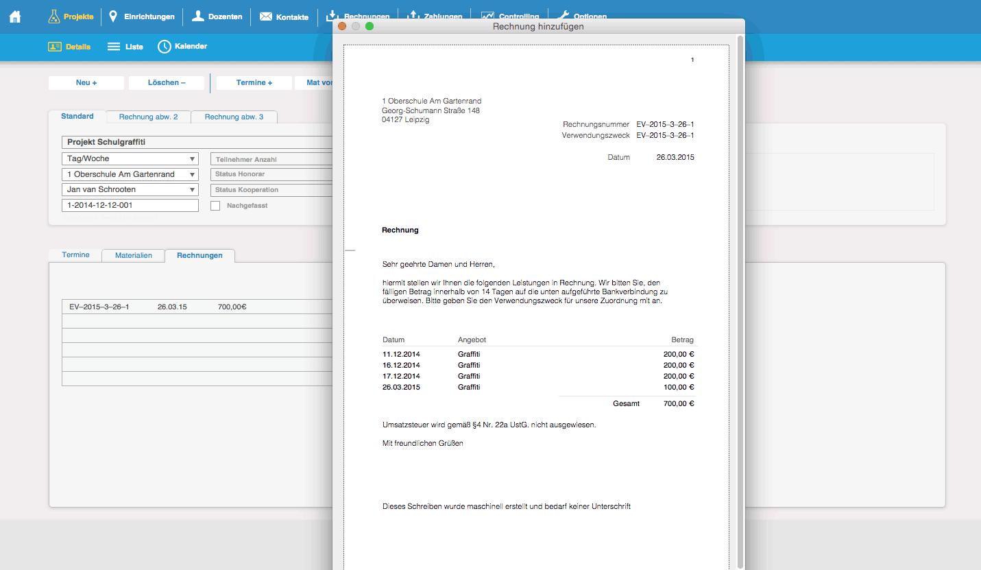 CRM System - Rechnungsansicht