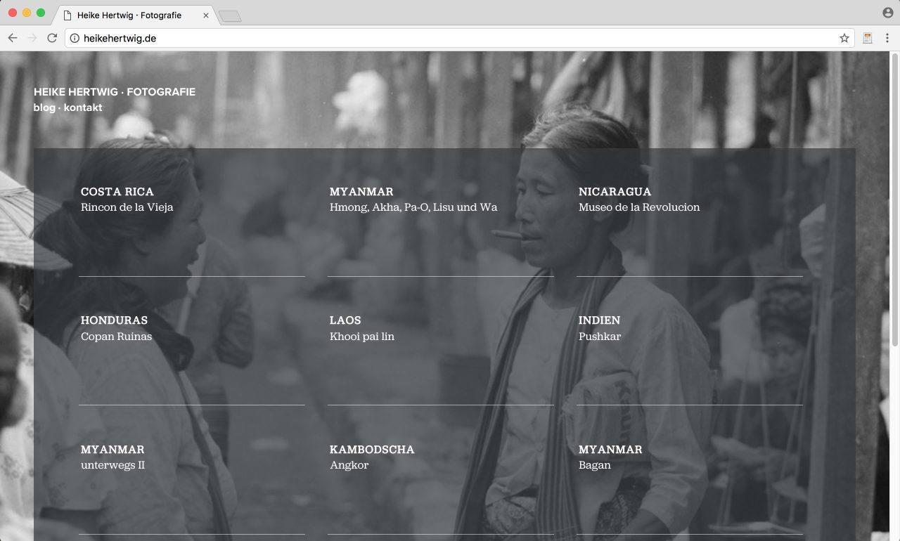 Heike Hertwig Fotografie | Konzeption, Gestaltung, Umsetzung – Startseite, Wordpress für einfaches Content Management