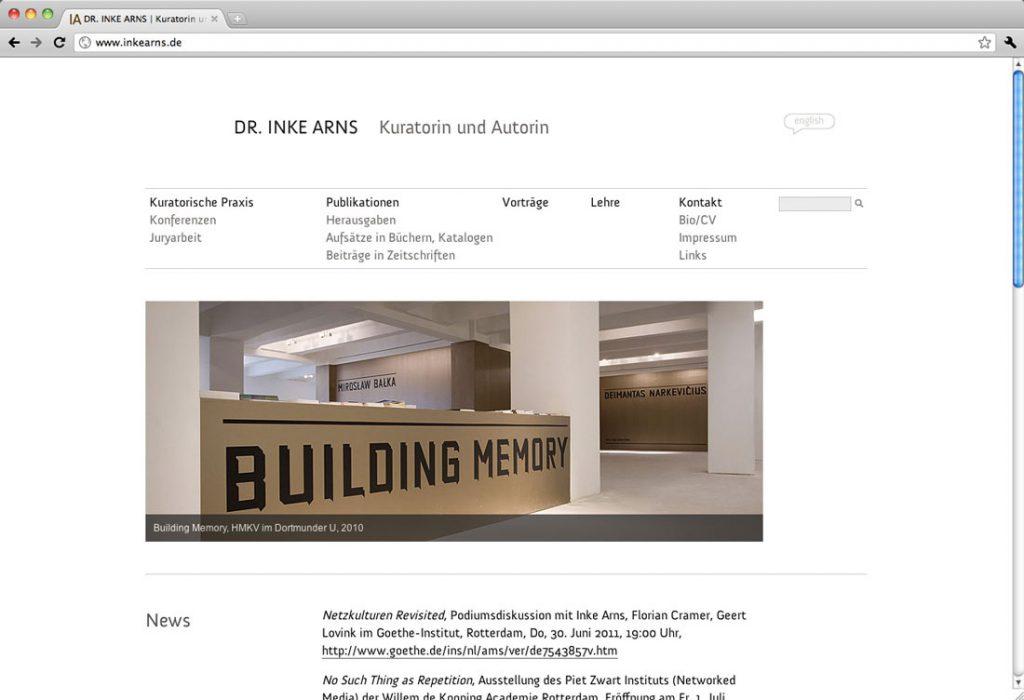 www.inkearns.de, Berlin | Gestaltung, Programmierung – Website für die Kuratorin und Autorin Inke Arns mit Slideshow auf der Startseite