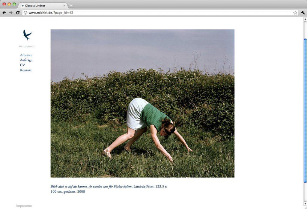 Mishiri.de, Webdesign und Programmierung für eine Fotografin, Leipzig – Detailseite mit großformatigem Bild und Bildunterschrift