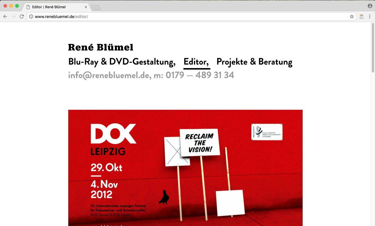 Website Rene Blümel DVD & Cutter